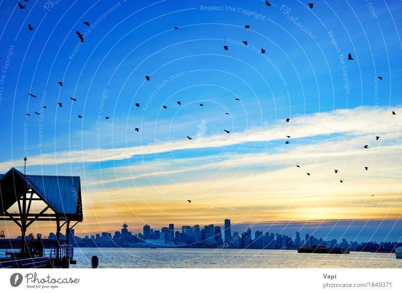 Himmel Ferien & Urlaub & Reisen blau Stadt Sommer Wasser Meer Landschaft rot Wolken schwarz Umwelt Architektur gelb Gebäude Business