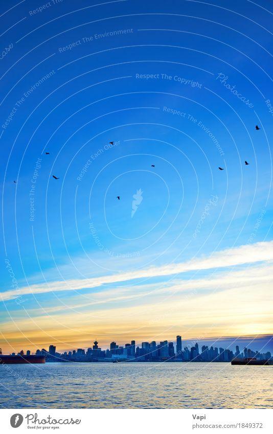 Nacht Stadt, Panorama-Szene der Innenstadt Himmel Ferien & Urlaub & Reisen blau Wasser Meer Landschaft rot Wolken schwarz Umwelt Architektur gelb Gebäude
