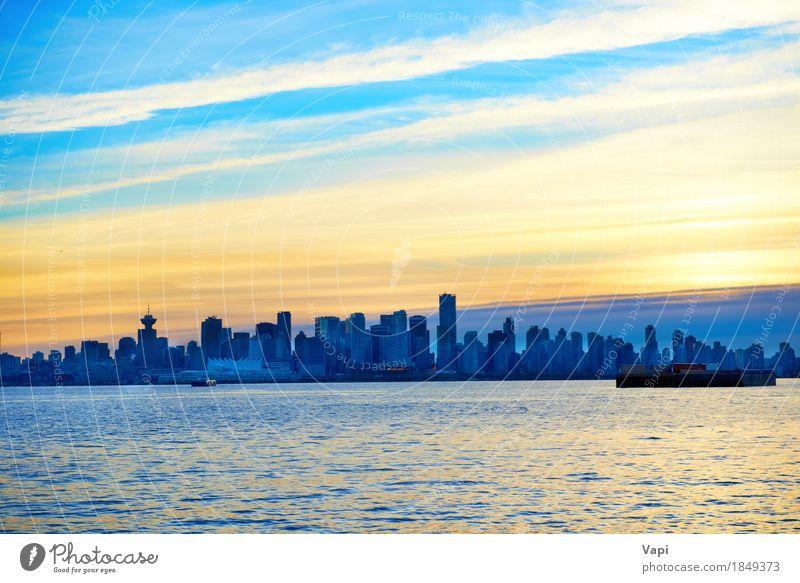 Nacht Stadt, Panorama-Szene der Innenstadt Himmel Ferien & Urlaub & Reisen blau schön Meer Landschaft rot Wolken schwarz Umwelt Architektur gelb Gebäude