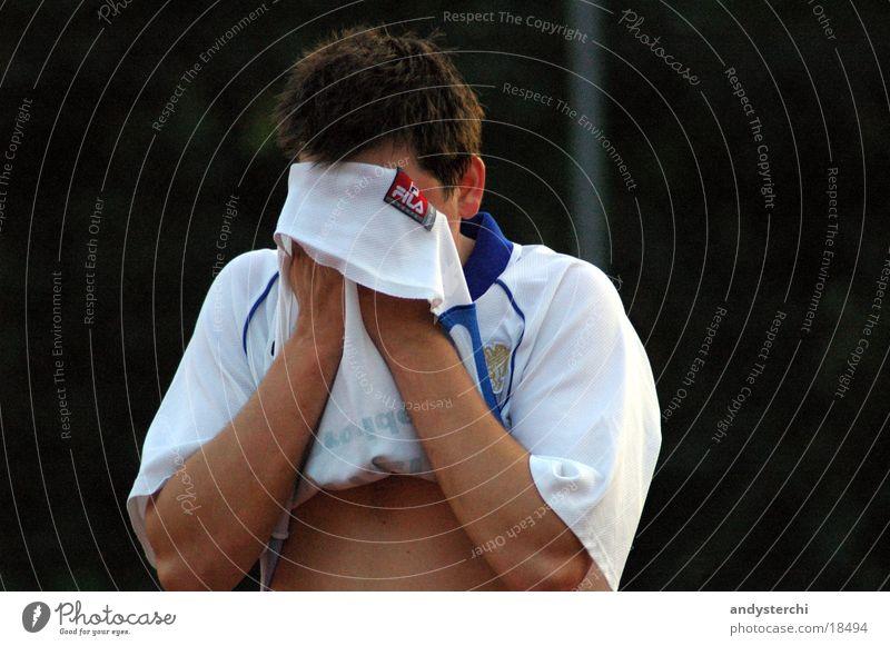 Phuu! transpirieren Schweiß Müdigkeit Mann Sport Erschöpfung T-Shirt verstecken