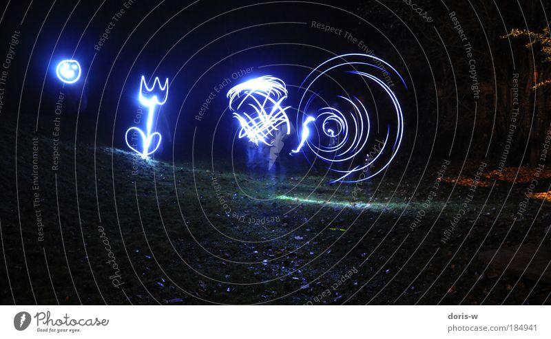 torchlight Langzeitbelichtung Blume blau schwarz Lampe dunkel Freiheit Bewegung Garten Graffiti Gegenlicht Kunst Licht abstrakt Textfreiraum Design