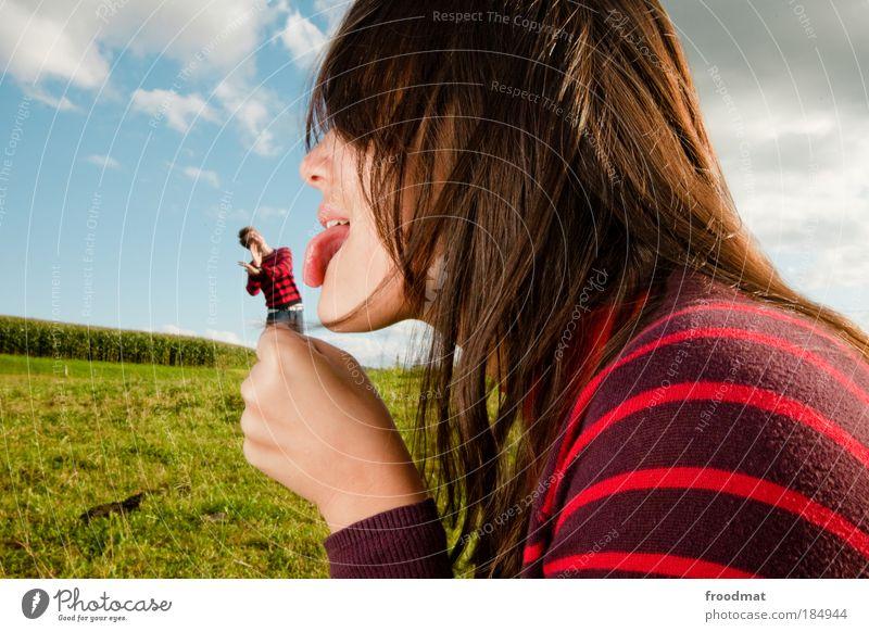 lick shot Mensch Mann Frau Jugendliche Mund Freude feminin Gefühle Blick träumen Paar lustig Gesicht gefährlich Romantik
