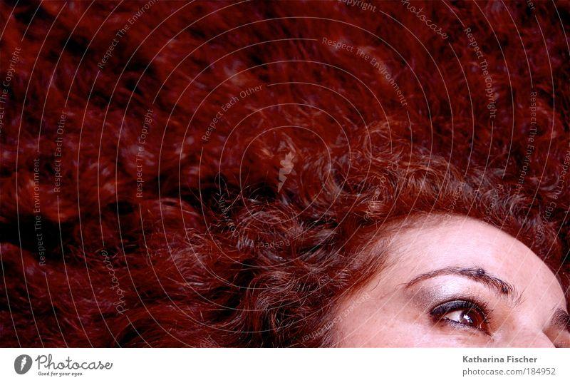 Red dream with open eye(s) Mensch Frau Jugendliche schön rot Erwachsene Gesicht Auge feminin Wärme Haare & Frisuren Junge Frau Kopf träumen Kunst Haut