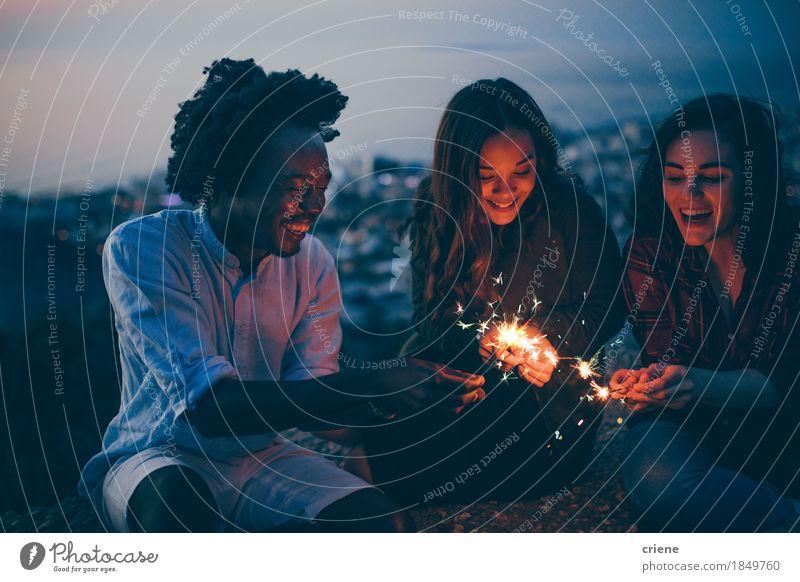 junge Erwachsene feiern Silvester mit Wunderkerzen Jugendliche Sommer Freude 18-30 Jahre Gefühle Lifestyle Freiheit Feste & Feiern Paar Stimmung Zusammensein