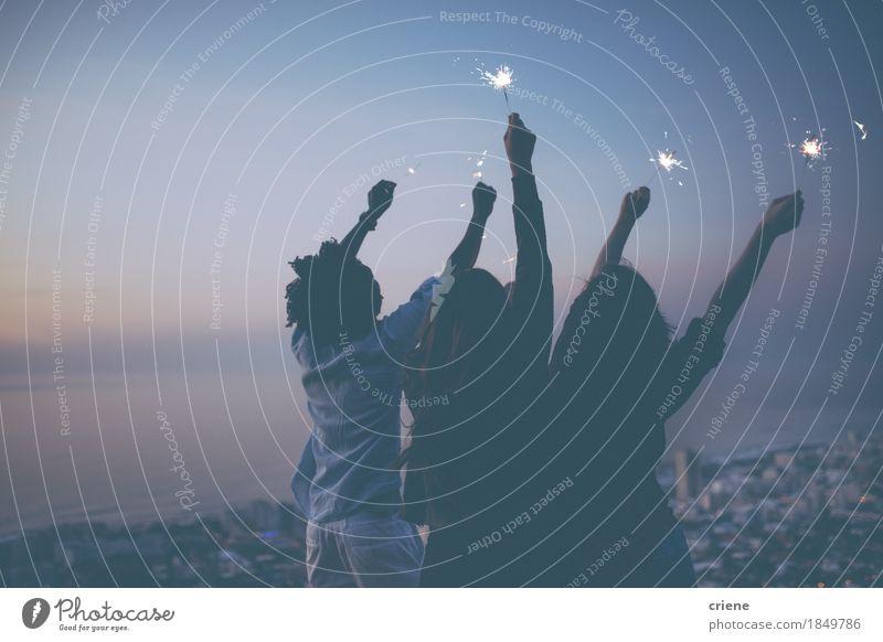 Freunde, die mit Wunderkerzen bei Sonnenuntergang auf Berg feiern Mensch Jugendliche Junge Frau Junger Mann Freude Berge u. Gebirge Lifestyle Glück