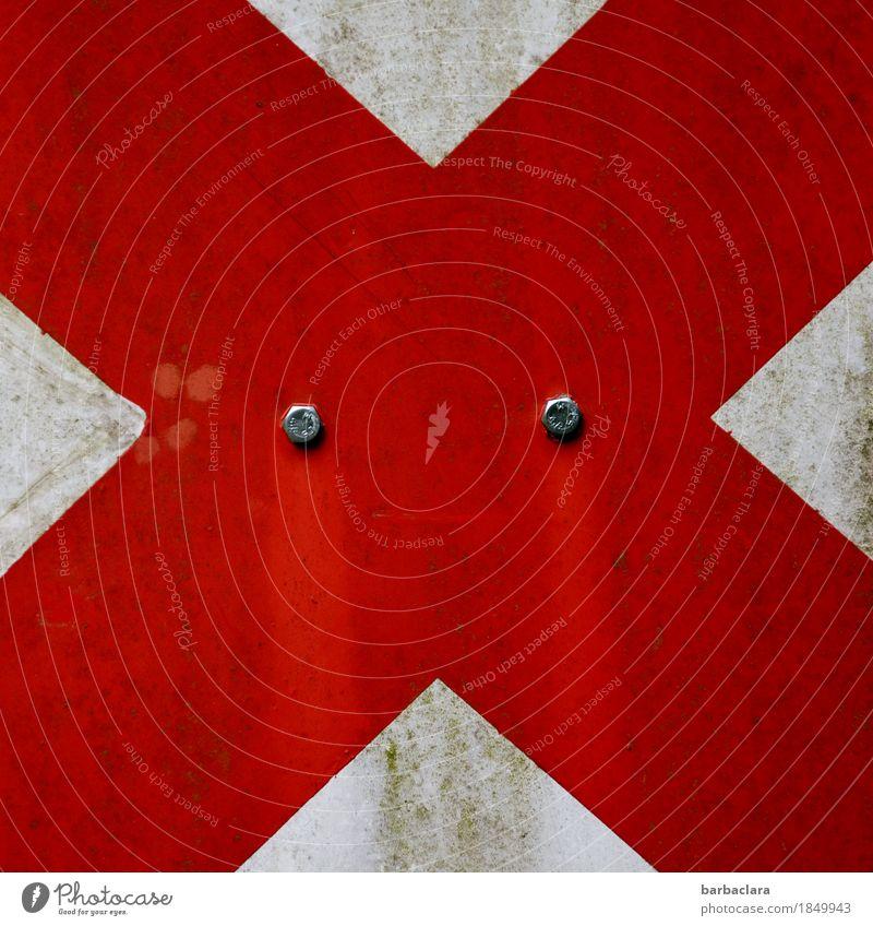 Please don't cry Metall Zeichen Schriftzeichen Schilder & Markierungen Hinweisschild Warnschild Kreuz Streifen Spuren leuchten rot weiß Wachsamkeit Schutz