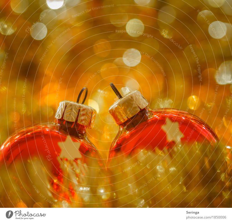 Ruhe u. Besinnlichkeit Stil Wohlgefühl Zufriedenheit Feste & Feiern glänzend Christbaumkugel Gold Gedeckte Farben mehrfarbig Innenaufnahme Nahaufnahme