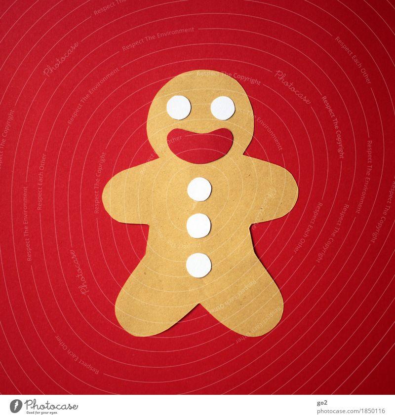 Weihnachtlich Lebkuchenmann Freizeit & Hobby Basteln Weihnachten & Advent Papier Lächeln lachen Fröhlichkeit braun rot Farbfoto Innenaufnahme Studioaufnahme