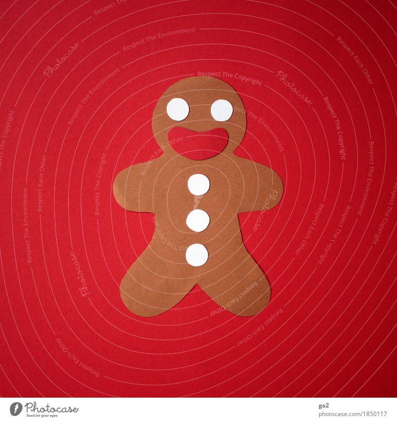 Lebkuchenmann aus Papier Teigwaren Backwaren Ernährung Freizeit & Hobby Weihnachten & Advent Dekoration & Verzierung lecker lustig niedlich süß rot Freude Glück