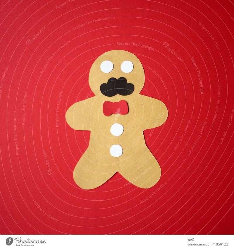 Lebkuchenmann Weihnachten & Advent rot Lebensmittel braun maskulin Freizeit & Hobby Ernährung Dekoration & Verzierung Kreativität Papier Süßwaren Bart Backwaren