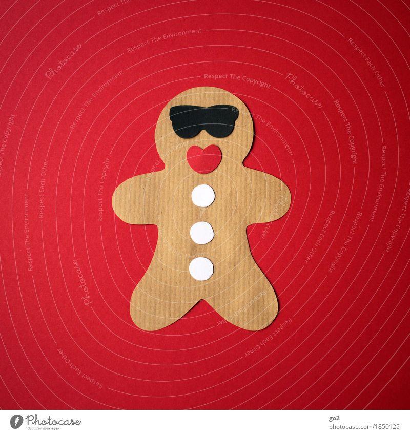 Lebkuchenmann Ernährung Freizeit & Hobby Basteln Weihnachten & Advent Sonnenbrille Papier Dekoration & Verzierung ästhetisch Fröhlichkeit lustig braun rot