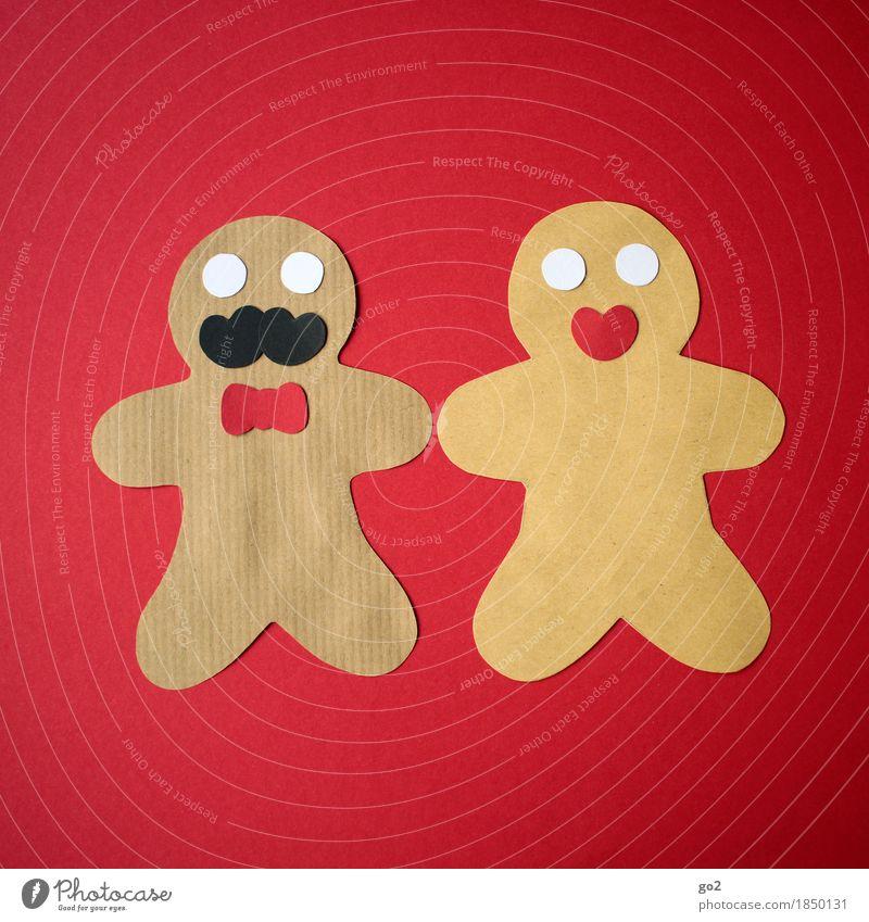 Lebkuchenpärchen Weihnachten & Advent rot feminin braun maskulin Freizeit & Hobby Ernährung Dekoration & Verzierung Kreativität Papier Partnerschaft Backwaren