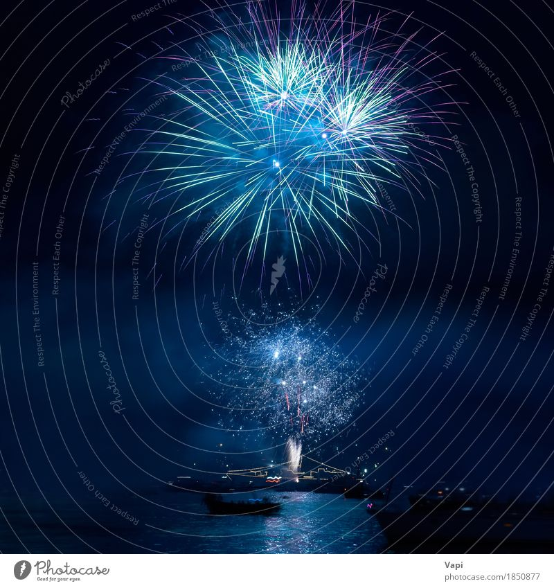 Buntes Feuerwerk am schwarzen Himmel blau Weihnachten & Advent Farbe grün Wasser weiß rot Freude dunkel gelb Kunst Freiheit Feste & Feiern Party