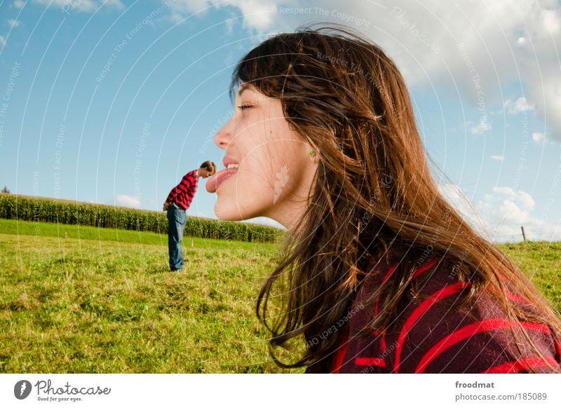 haarwäsche Mann Gesicht Frau Mensch Mund Jugendliche feminin Tiefenschärfe Paar lustig Zusammensein maskulin Wachstum verrückt mehrfarbig Coolness