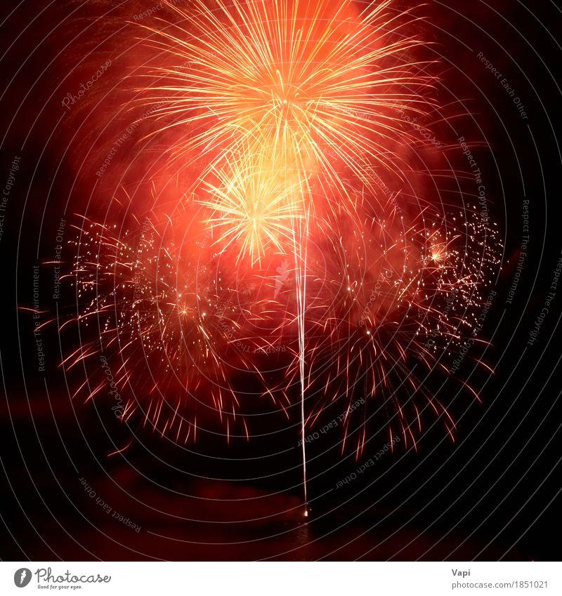 Rote bunte Feuerwerke auf dem schwarzen Himmel Weihnachten & Advent Farbe weiß rot Freude dunkel gelb Kunst Freiheit Feste & Feiern Party Design rosa hell