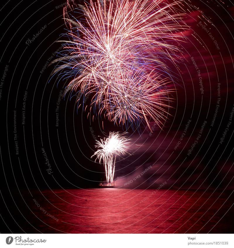 Rote bunte Feiertagsfeuerwerke über einem See Himmel Weihnachten & Advent Farbe Wasser weiß rot Freude dunkel schwarz gelb Feste & Feiern Party Design rosa hell