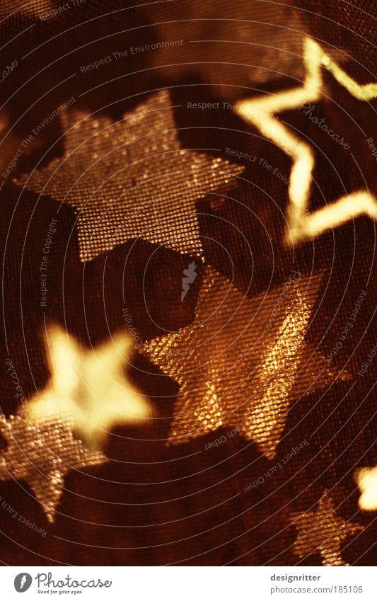 Sternhagel Dekoration & Verzierung Weihnachtsdekoration Stoff Textilien Ornament Stern (Symbol) Weihnachtsstern schön Kitsch Wärme gold Freude Fröhlichkeit