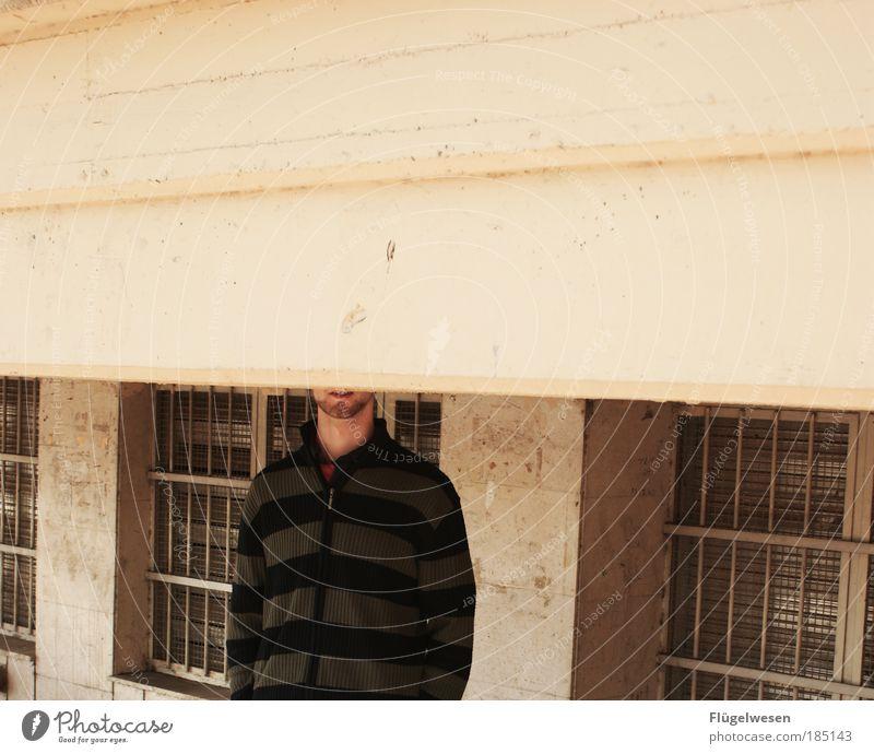 Eingemauert Mensch Arbeit & Erwerbstätigkeit Fenster Mauer Angst Kunst dreckig Wohnung Beton Lifestyle gefährlich kaputt Baustelle Freizeit & Hobby