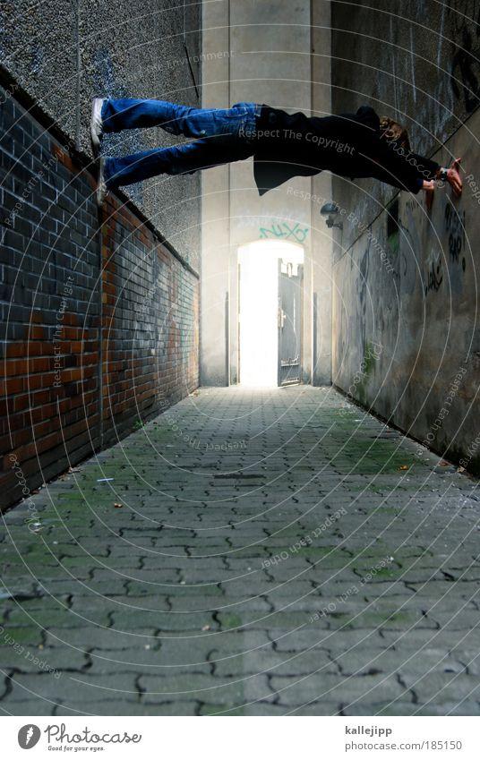 türsteher Klettern Bergsteigen Sportler Mensch maskulin Mann Erwachsene Leben 1 Künstler Haus Mauer Wand Fassade Kontakt Le Parkour Freiheit Funsport verrückt