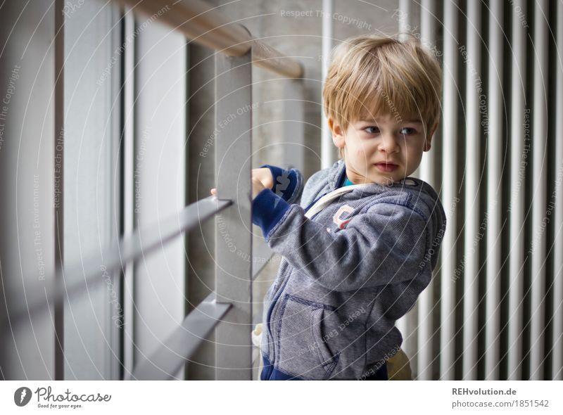 Hochschulgebäude studieren Mensch Kind Gesicht Wand natürlich Stil Junge klein Mauer grau maskulin Kindheit authentisch beobachten niedlich Neugier