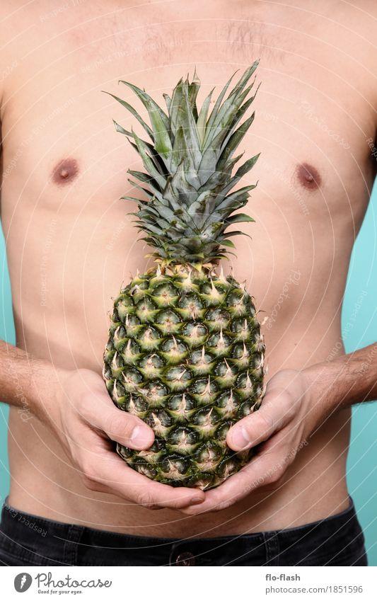 Ananas machen VII Mensch Jugendliche Mann Junger Mann Erotik 18-30 Jahre Erwachsene Leben Lifestyle Gesundheit Business Lebensmittel Design Frucht maskulin
