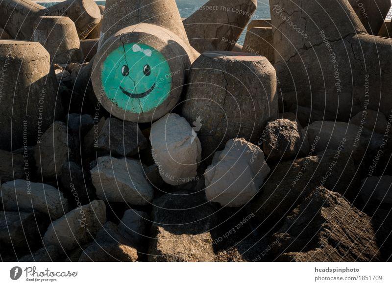 Türkiser Smiley auf einem Wellenbrecher in Aveiro, Portugal grün Wasser Meer Freude Strand Gefühle Graffiti Küste lachen Glück Tourismus Zufriedenheit