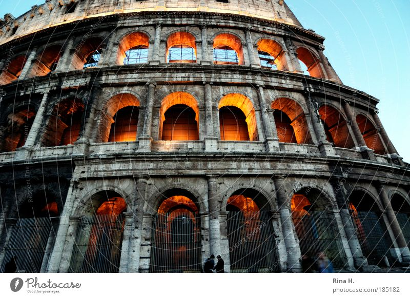 Kolossal Mensch Rom Italien Bauwerk Sehenswürdigkeit Wahrzeichen Kolosseum leuchten außergewöhnlich gigantisch Macht Tod Stolz Ruine Antike Gladiator Kampfsport