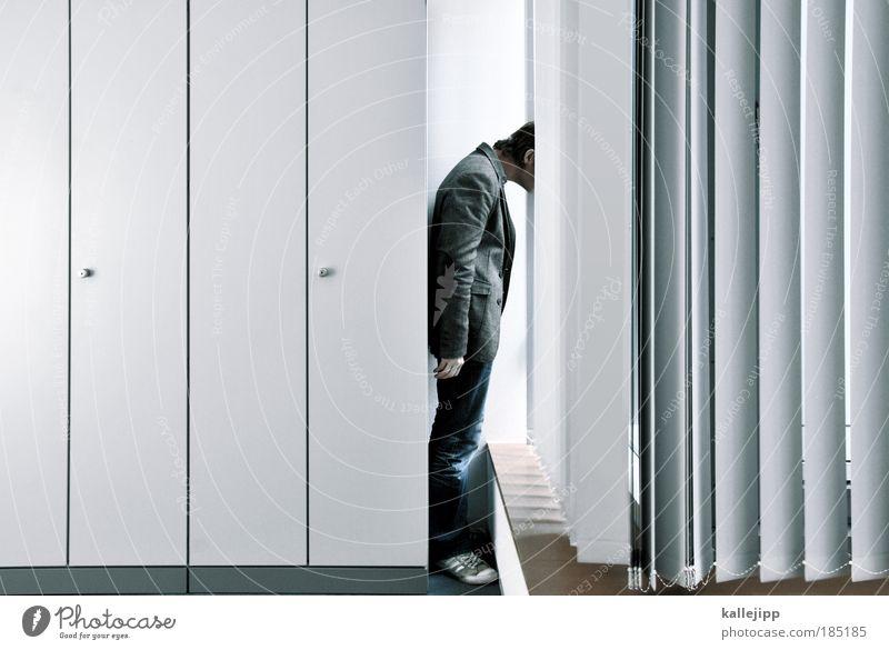 stromberg Mensch Mann Erwachsene Fenster Leben Möbel Büro Business Arbeit & Erwerbstätigkeit maskulin Zukunft Neugier Bildung Perspektive Schatten Beruf