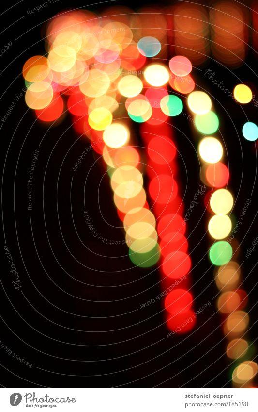 Christmas Candy Cane leuchten gelb rot Licht Beleuchtung Lichterkette Farbfoto Außenaufnahme Menschenleer Nacht Schwache Tiefenschärfe Lichtfleck Lichtpunkt