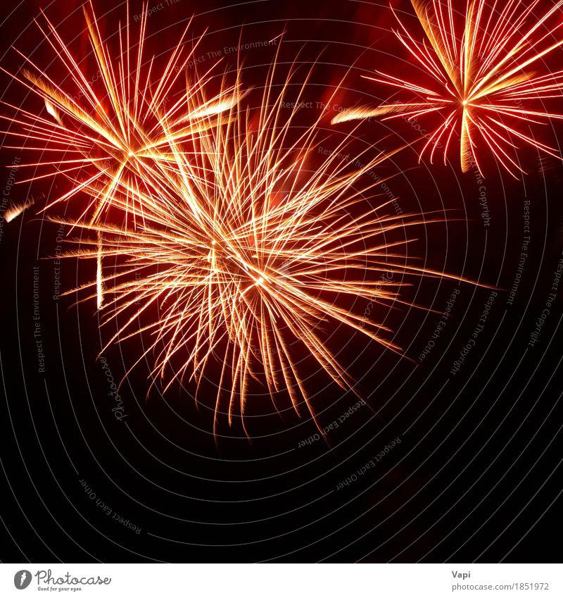 Bunte rote und orange Feuerwerke auf dem schwarzen Himmel Weihnachten & Advent Farbe weiß Freude dunkel gelb Kunst Feste & Feiern Party Design rosa hell