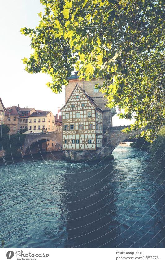 altes rathaus bamberg Lifestyle kaufen Reichtum Ferien & Urlaub & Reisen Tourismus Ausflug Sightseeing Städtereise Oberfranken Bamberg Rathaus Flussufer Main