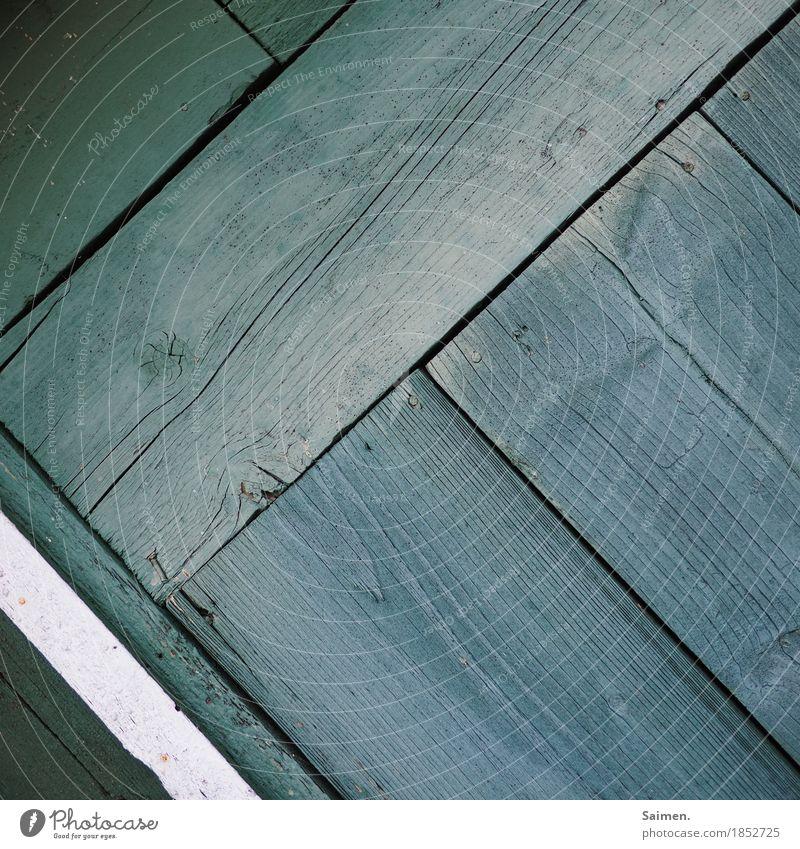 schräg liniert Holz alt Linie Maserung grün Streifen Holzbrett Spalte gestrichen Nagel Wand Wandel & Veränderung Strukturen & Formen Farbfoto Gedeckte Farben