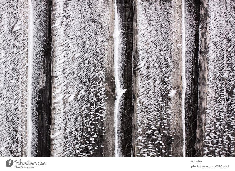 frozen Klima Eis Frost Schnee Hütte Mauer Wand Holz Linie Streifen einfach kalt natürlich stachelig braun weiß Gefühle Einsamkeit bizarr einzigartig rein