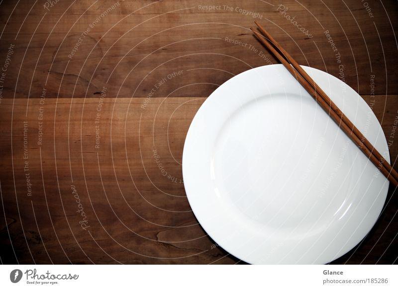 Entkommenes Sushi weiß Holz Stil braun warten elegant Design rund Sauberkeit Gelassenheit Geschirr Teller Diät Vorsicht füttern Strukturen & Formen