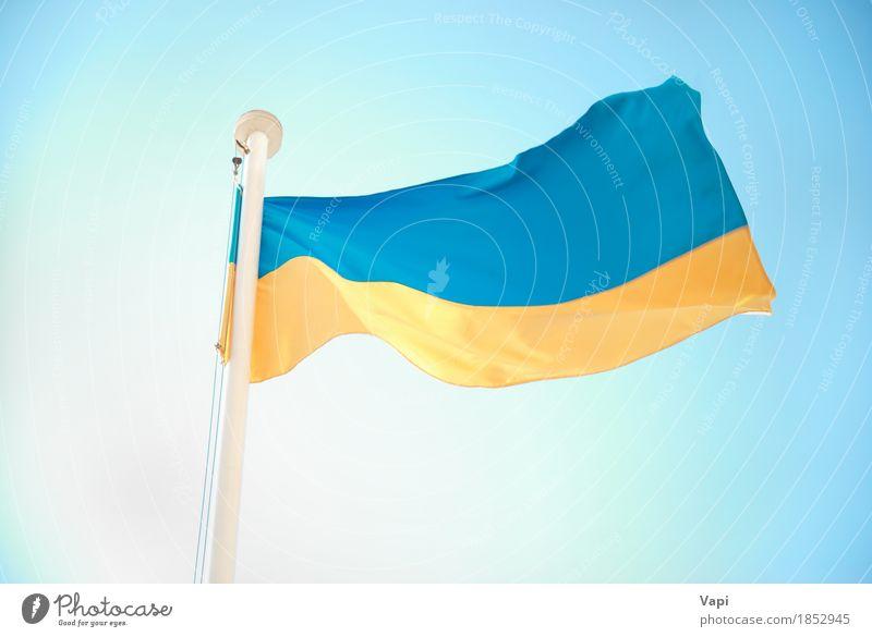 Ukrainische blaue und gelbe Flagge Himmel Ferien & Urlaub & Reisen Farbe weiß Tourismus Design Aussicht Wind Europa Kultur Symbole & Metaphern Fahne