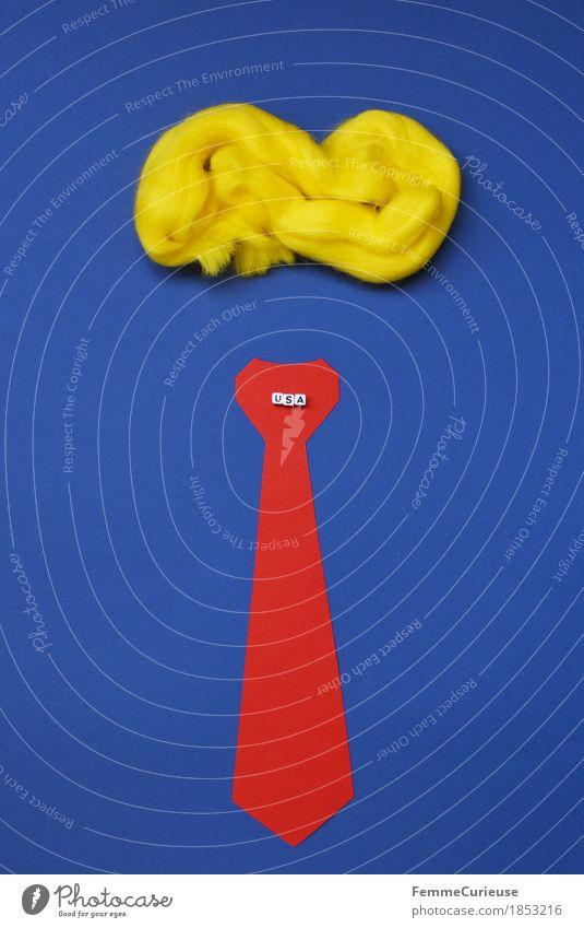 ... Mensch Mann blau Erwachsene gelb Erde Haare & Frisuren maskulin blond USA Zeichen Macht Männlicher Senior Symbole & Metaphern Politik & Staat Karton