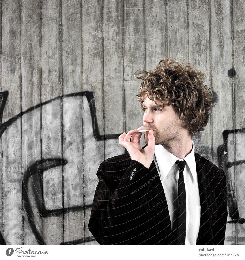 stilvoll Mensch Mann schön Erwachsene Porträt Leben kalt grau Haare & Frisuren Stil blond maskulin wild authentisch Lifestyle