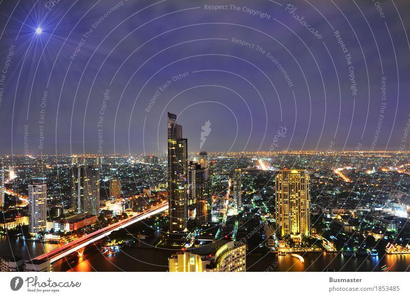 Bangkok bei Nacht Landschaft Himmel Nachthimmel Schönes Wetter Thailand Asien Stadt Hauptstadt Skyline Architektur Ferne Hochhaus Beleuchtung Farbfoto