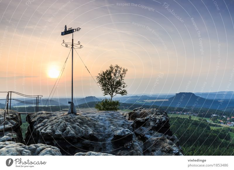 Wetterfahne auf dem Gohrisch mit Festung Königstein Tourismus Ferne Berge u. Gebirge Natur Landschaft Himmel Horizont Sonnenaufgang Sonnenuntergang Felsen Stein