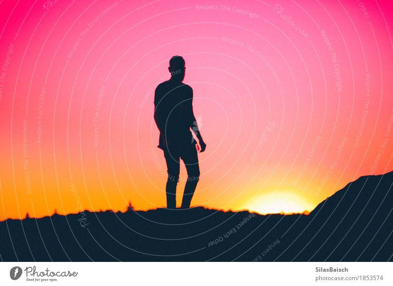 Silhouette eines Menschen elegant Stil exotisch Ferien & Urlaub & Reisen Sommerurlaub Junger Mann Jugendliche Erwachsene Leben Körper 18-30 Jahre Sonne