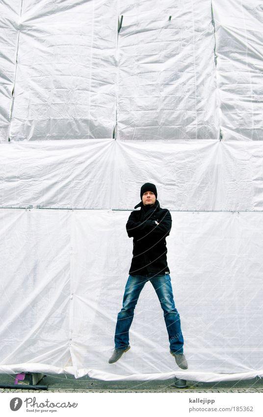 memories - jeanne-claude Lifestyle Hausbau Renovieren Mensch maskulin Mann Erwachsene 1 30-45 Jahre Fassade Jeanshose Jacke Mantel Schuhe Mütze fliegen springen