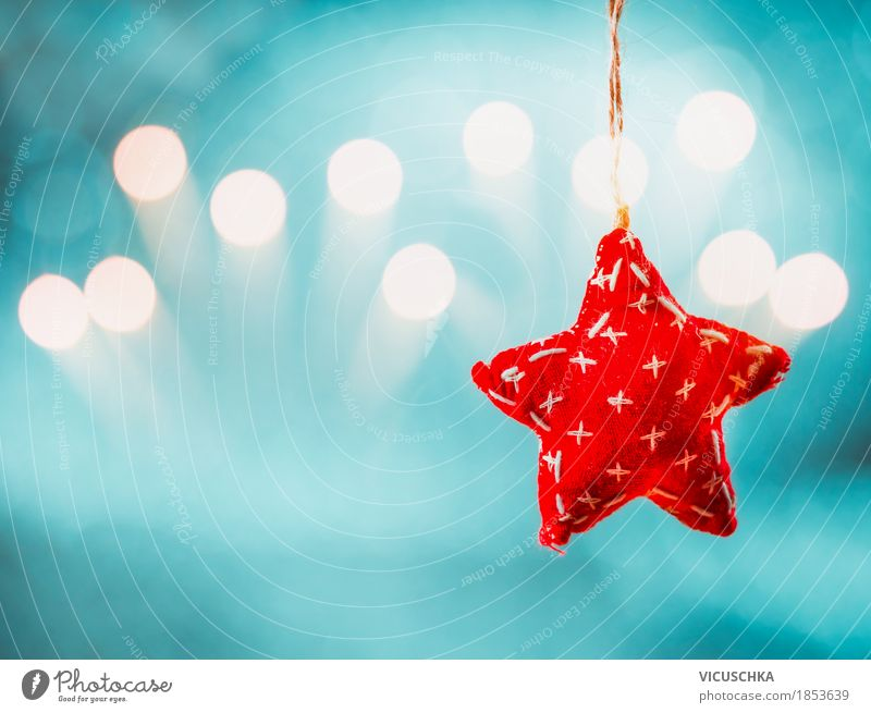 Weihnachten Hintergrund mit dem hängenden roten Stern Stil Design Freude Feste & Feiern Weihnachten & Advent Dekoration & Verzierung Zeichen Ornament Stimmung