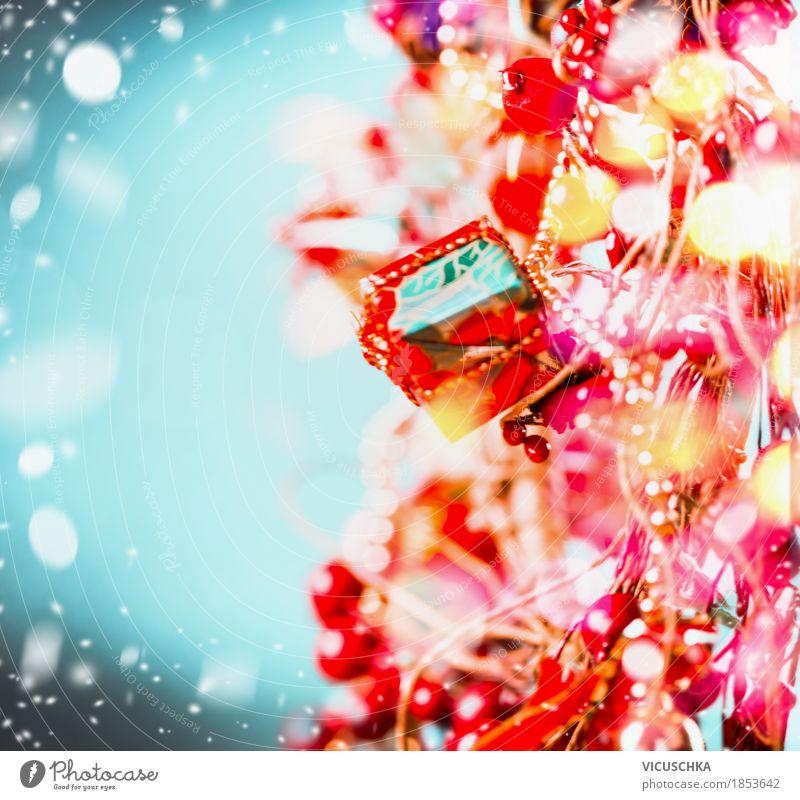 Fröhliche Weihnachten Hintergrund mit Schnee und Bokeh Natur blau Weihnachten & Advent rot Freude Winter gelb Hintergrundbild Stil Feste & Feiern Party Stimmung