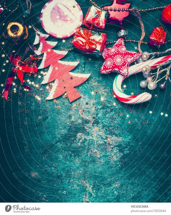 Weihnachtskarte blau Weihnachten & Advent rot Winter Hintergrundbild Stil Feste & Feiern Design Dekoration & Verzierung retro Zeichen Kugel Tradition