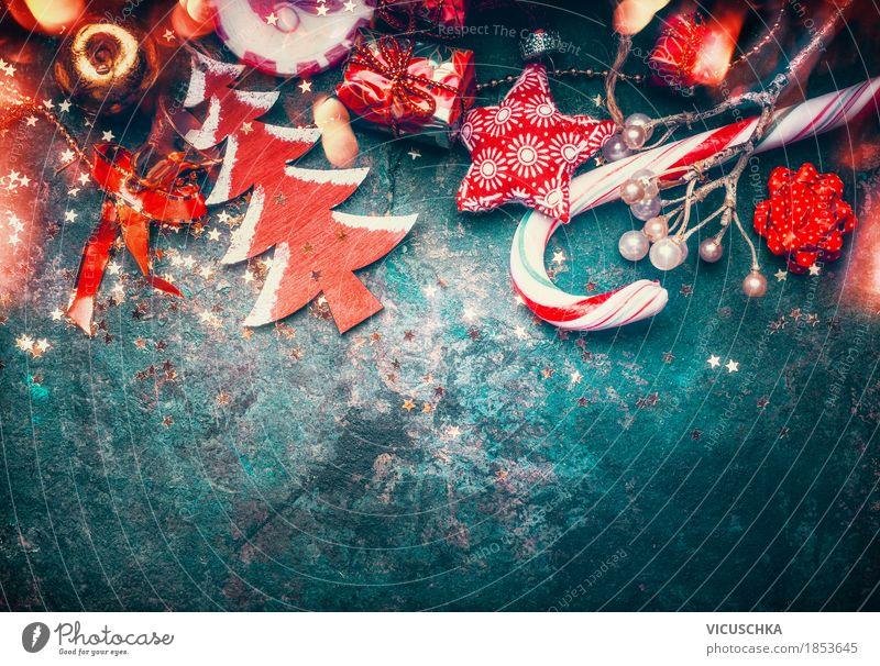 Weihnachten Hintengrund mit rotem Weihnachtsschmuck blau Weihnachten & Advent Freude Winter Hintergrundbild Stil Feste & Feiern Stimmung Design Häusliches Leben