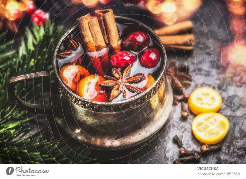 Vintage Tasse mit Glühwein Lebensmittel Frucht Kräuter & Gewürze Festessen Getränk Heißgetränk Lifestyle Stil Design Freude Feste & Feiern Weihnachten & Advent