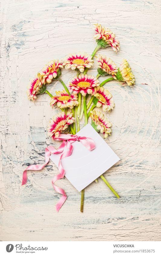 Hübsche Blumenstrauß mit Grußkarte und rosa Schleife Natur Pflanze Blume Blatt Blüte Liebe feminin Stil Feste & Feiern Design rosa hell Dekoration & Verzierung elegant Geburtstag Geschenk