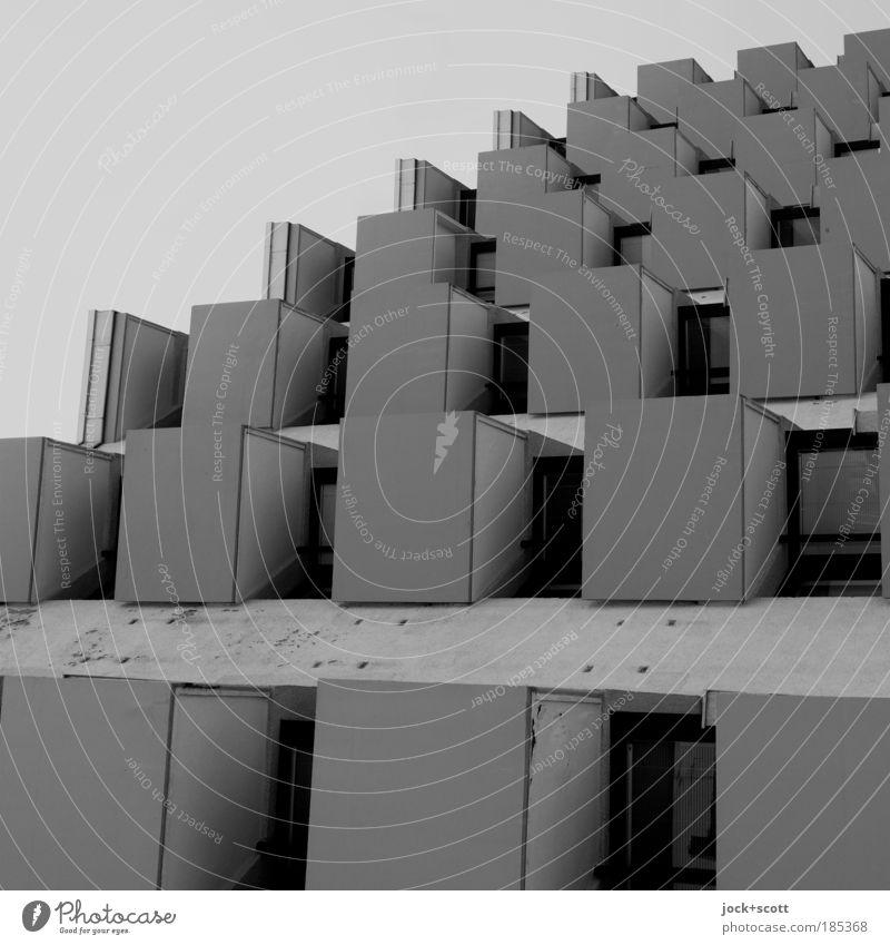 New Order (form follows function) Berlin Architektur Stadthaus Plattenbau Fassade Balkon Beton dunkel eckig fest modern trist grau Stimmung Schutz Ordnungsliebe