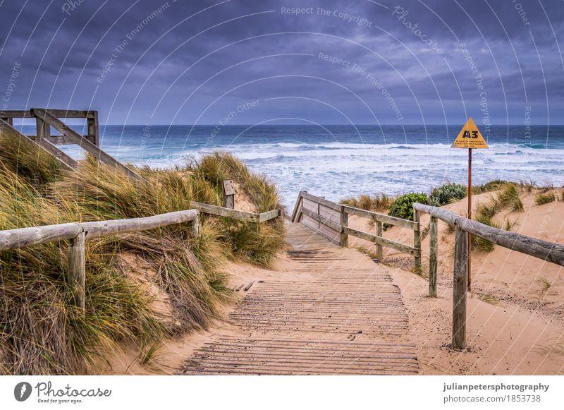 Kap Woolamai Strand in Phillip Island Lifestyle Freude Leben Ferien & Urlaub & Reisen Sonnenbad Meer Insel Wellen Natur Landschaft Sand Himmel Gras Urwald