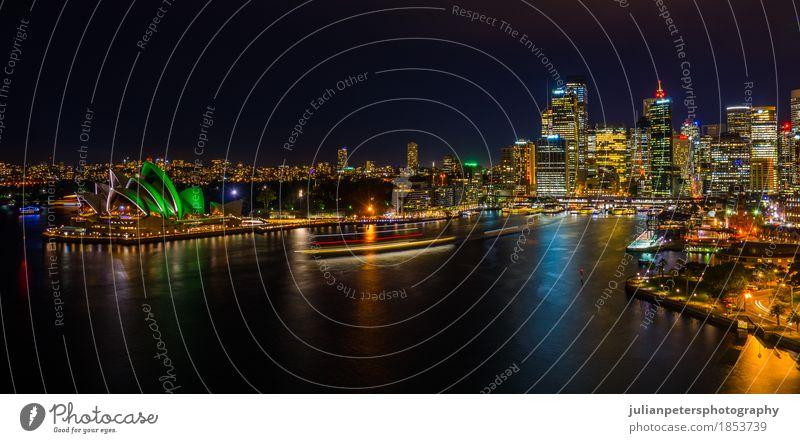 Nachtzeit-Stadtbild von Sydney Harbour Himmel Ferien & Urlaub & Reisen Meer Landschaft Haus dunkel Architektur Gebäude Wasserfahrzeug Hochhaus Platz Brücke neu